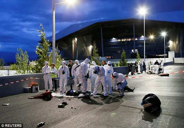 The drills, which took place at the stadium near Lyon and at the Stade de France in Paris, were part of the massive security preparations underway for the event