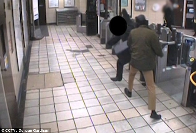 The jury were shown footage of the attack (pictured). Prosecutor Jonathan Rees QC said the attack was 'wholly unprovoked'