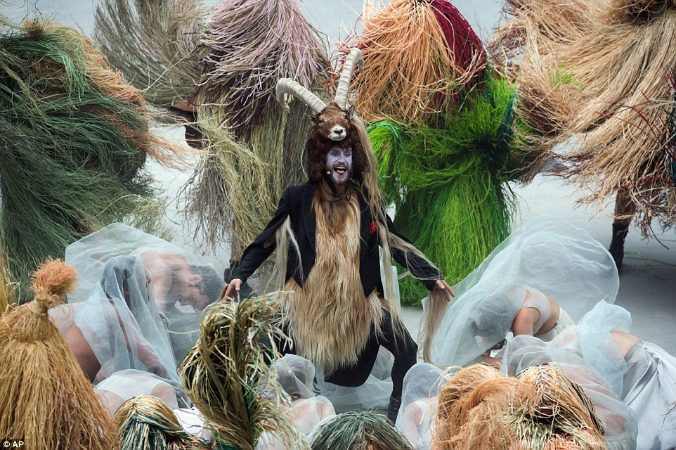 Goat man: One dancer performs as a mountain goat in a nod to the location of the tunnel, which travels underneath the Alps