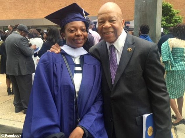 Representative Elijah Cummings' daughter Adia (pictured together at her graduation) used his car with Congressional plates while working for Lyft