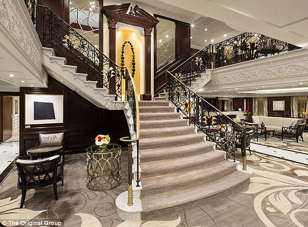Opulent: A grand staircase is pictured in this photo released ahead of the trip in the Adriatic Sea from September 26 to October 3, 2017