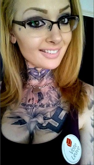 Eva Van Housen (pictured showing off the swastika tattooed on her chest), has been distributing leaflets by Vote Leave, the main pro-Brexit group, in Leeds