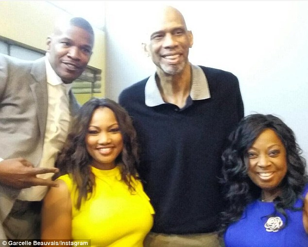 'Out for a great cause':The NYPD Blue star shared a photo to her Instagram on Monday while posing with Kareem, Jamie and Star after the rally