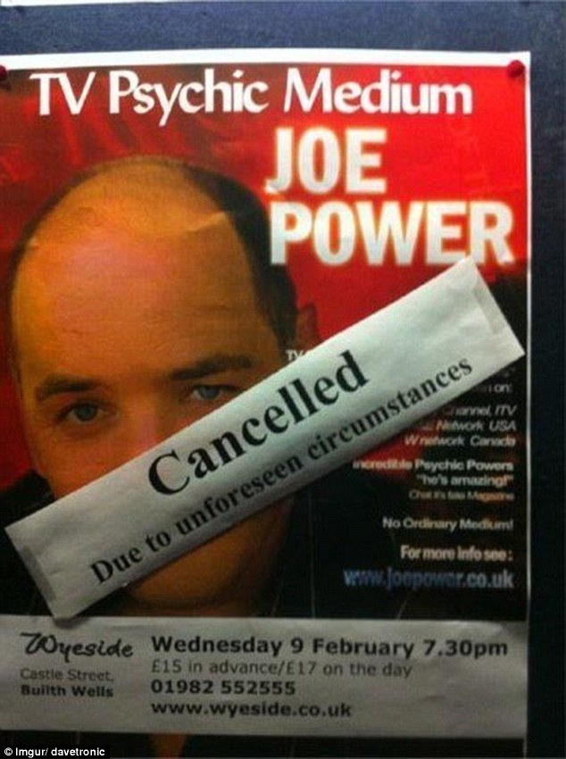 A poster for a TV psychic's show did not end up being the best advert for his skills after it was cancelled due to 'unforeseen circumstances'