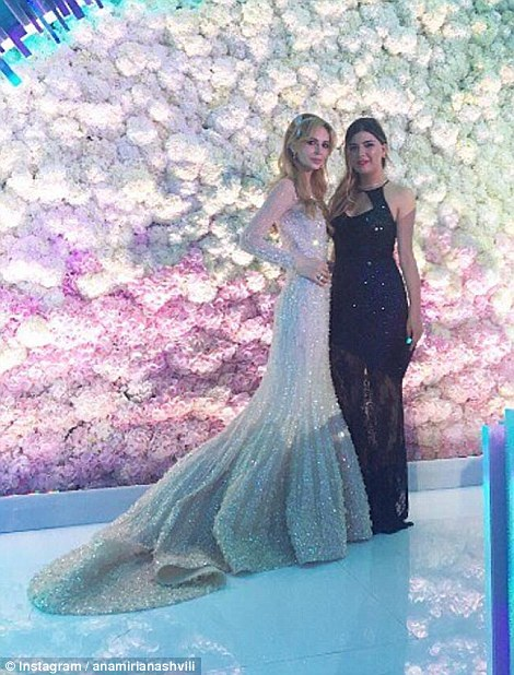 Salome Kintsurashvili showed off her bejewelled Elie Saab wedding gown in multiple photos with friends