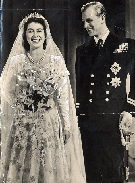 Still smiling: The newlyweds after their wedding in 1947