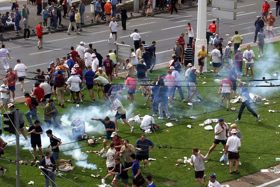 Battle of Marseille: England fans clashed with police and local gangs after a match against Tunisia during France '98 World Cup