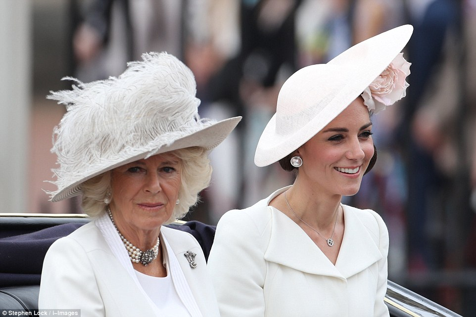All white: The Duchess of Cornwall, left, and the Duchess of Cambridge, right, look glamorous in white as they are taken to Horse Guards Parade by carriage
