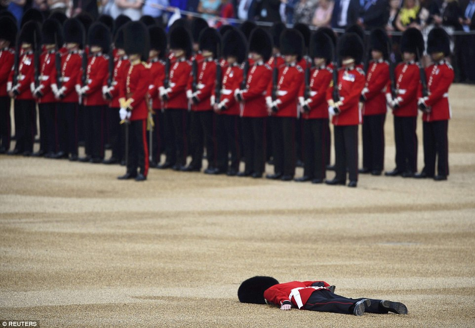 Fainted: One guardsman collapsed during the ceremony in a repeat of the 2013 event when a similar incident occurred