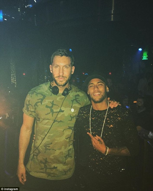 Calvin Harris with Neymar after the Brazilian attended one of his concerts in Las Vegas on Thursday night