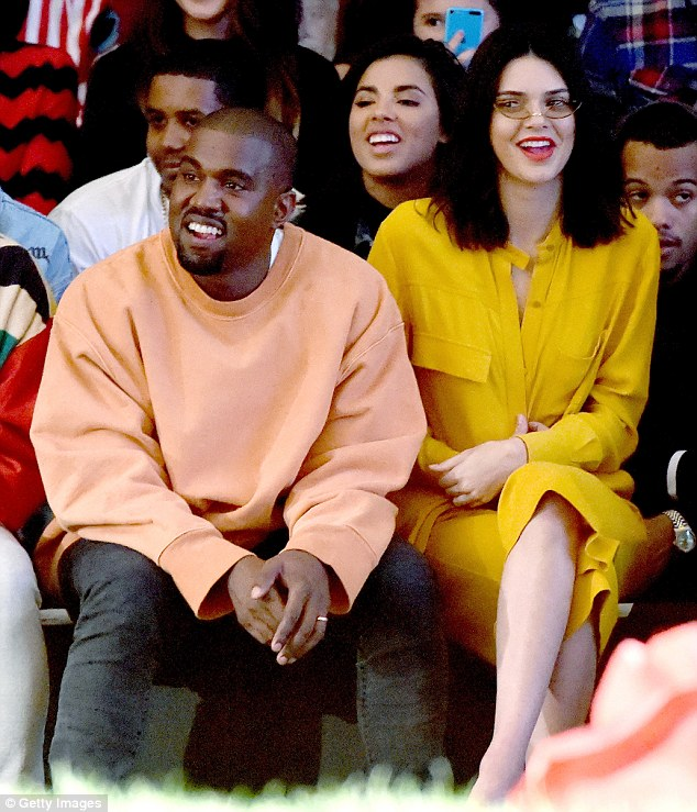 All change: Kendall Jenner shows off her new shorter hairdo as she joins brother-in-law Kanye West at Tyler, the Creator's fashion show for Made LA at L.A. Live on Saturday