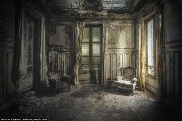 This room that is in near collapse in an abandoned Chateau in France wouldn't look out of place in a horror film. Why were these the only two chairs left behind? Only the house knows its secrets
