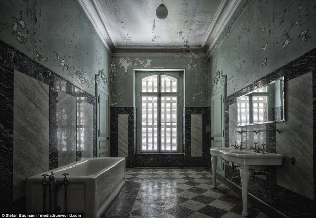 One of the main bathrooms in an abandoned chateau - a lick of pain could help restore it to its former glory