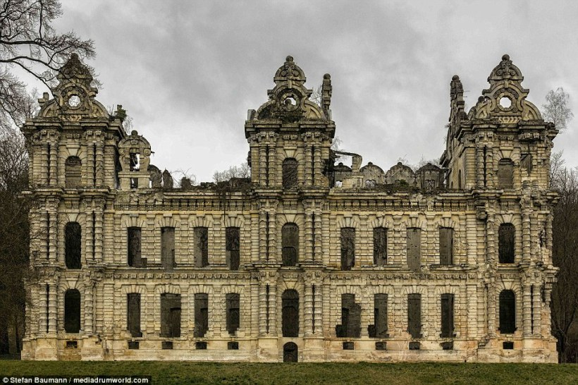 Only the stone made structures are left of this once beautiful chateau after it was gutted by fire
