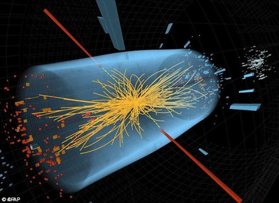 Two of the detectors, ATLAS and CMS, were counting particle decays that ended up in two photons, and found a potential new particle. If it turns out to be real, and not a blip, this would be a huge discovery. Two high-energy photons whose energy, shown in red, was measured in the CMS is illustrated