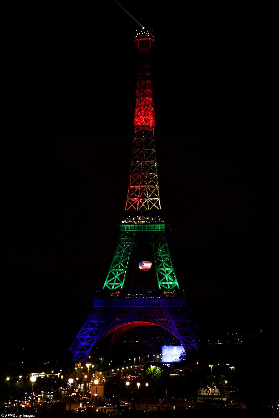 Paris: The Eiffel Tower in Paris was this evening illuminated in rainbow colours to pay homage to the 49 victims