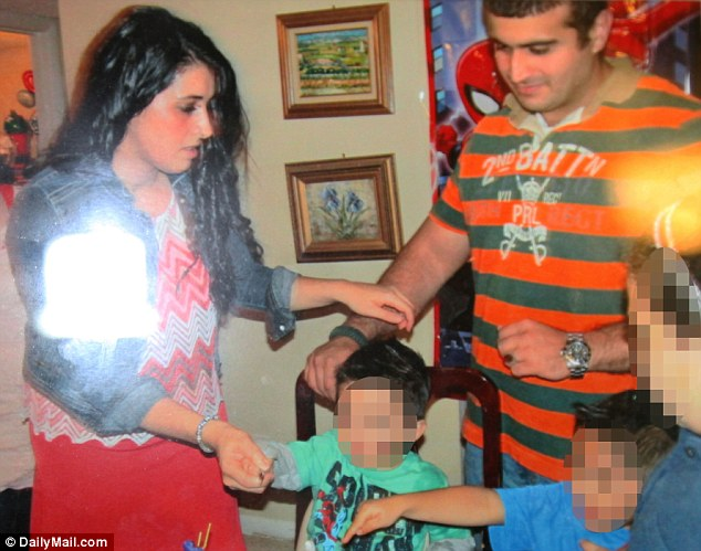 Pictured: Noor Zali Salman in a family photo with her husband. A second-generation American, Salman was born into a well-to-do Palestinian family who emigrated to California from Ramallah, in the West Bank, in the 1970s