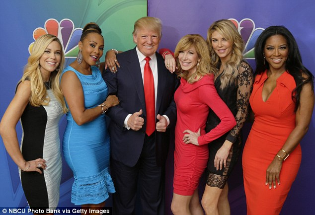 Happier days: Vivica was all smiles as she posed with Donald Trump and her fellow Celebrity Apprentice contestants, from left: Kate Gosselin, Leeza Gibbons, Brandi Glanville and Kenya Moore