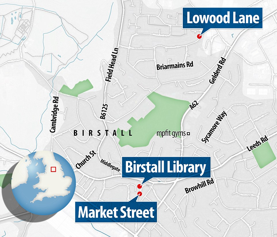 Map showing Birstall Library, where Jo Cox's surgery was scheduled, Market Street, where the MP was attacked, and Lowood Lane, where the attacker, named locally as 'loner' Thomas Mair, lived. Police remained at the crime scene and outside Mair's home this evening