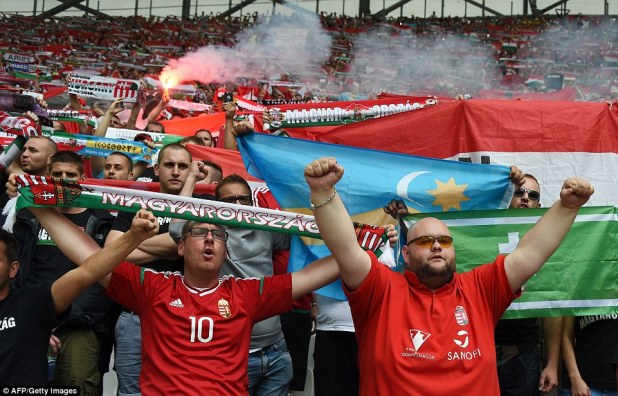 Before the start of the game, a flare was lit in the Hungarian fans' section as their national anthem was played