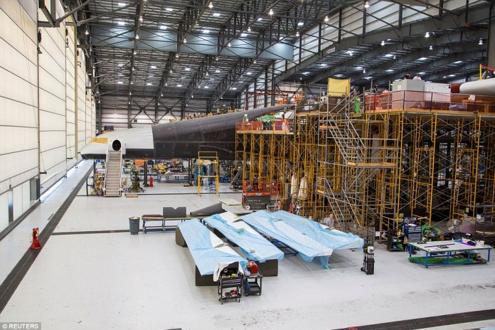 Reporters got their first look at the Stratolaunch plane, which is currently being constructed at a hanger in the US. The private behind the venture say construction of the plane is 76 per cent complete