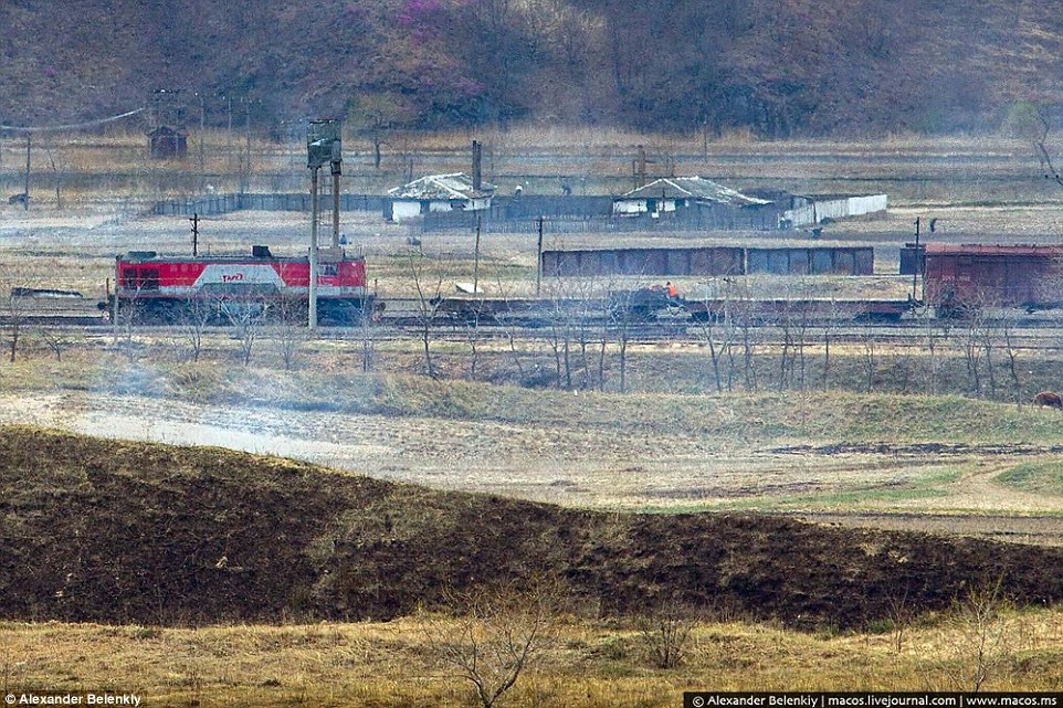 Russian support? Railway engines from Putin's Russia are seen returning from North Korea in an image that suggests the former Soviet state may be aiding the regime in some ways