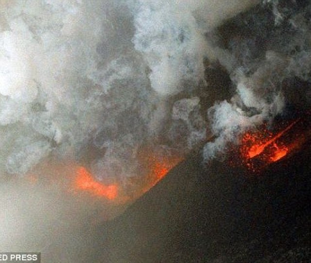 Lava Explodes From The Hekla Volcano In An Unpopulated Area About  Kilometers