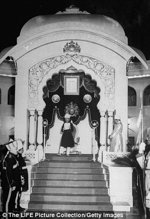 Speech: The Nizam addresses crowds in Hyderabad at his palace in 1948 - at the time his £1million was wired to London