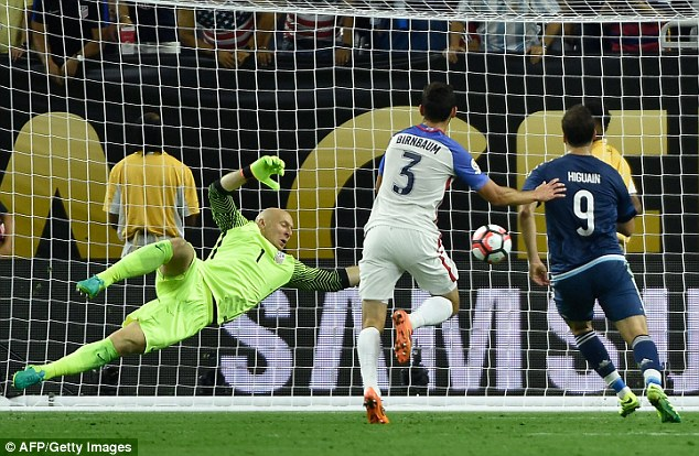 Higuain completed the 4-0 scoreline for Argentina on 86 minutes with this close-range finish past Guzan