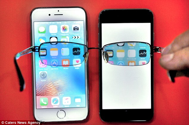 To the naked eye, the phone screen appears to just be white. But when you look at the same screen with the modified glasses, the true display becomes visible