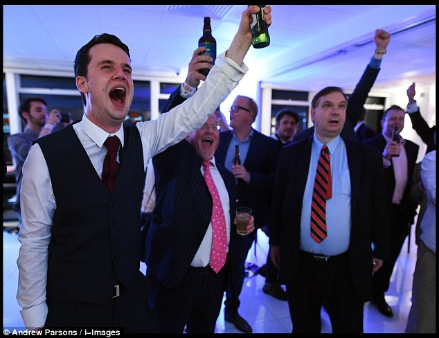 Cheers: Brexit supporters can't contain their excitement as Britain votes Leave and triggers calls for a wave of similar referendums across Europe