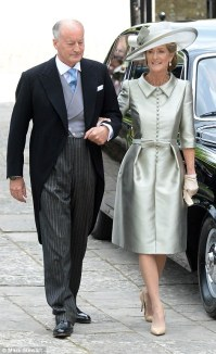 Pictured, Lord and Lady Brabourne attend their daughter Alexandra's wedding