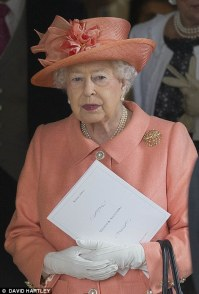 Pictured, the Queen at the wedding of Alexandra Knatchbull and Thomas Hooper
