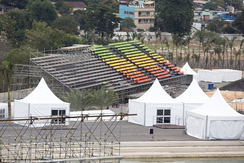 Long way to go: This was the scene at the BMX venue in the Deodoro Olympic Park, where seats are in short supply and the edges of the course are unbuilt