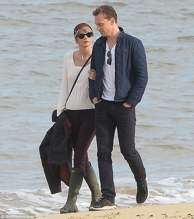 Moving fast: Taylor and Tom, pictured in Suffolk on Sunday, have already met each other's families