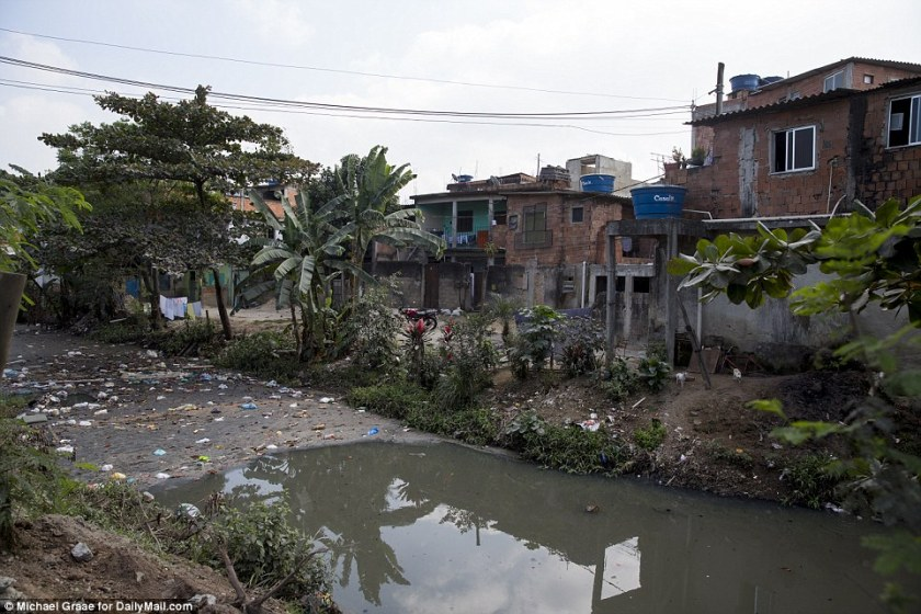 Great stench: Heavily-polluted waterways are just half a mile from the Barra Olympic Park. The smell of raw sewage hangs over both parks