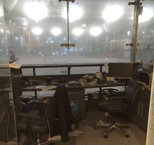 An abandoned office at Turkey's largest airport, the Ataturk airport in Istanbul, where reports say explosions and gunfire have broken out. A window pane to the right of the image appears to have been shattered