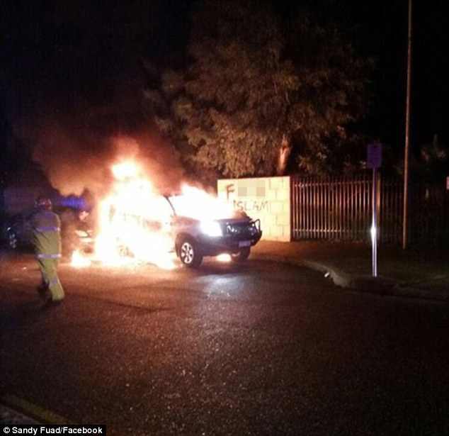A mosque was firebombed at Thornlie, south-east of Perth, at about 8pm on Tuesday night and the words 'f*** Islam' were scrawled on the wall as hundreds of worshippers were inside praying