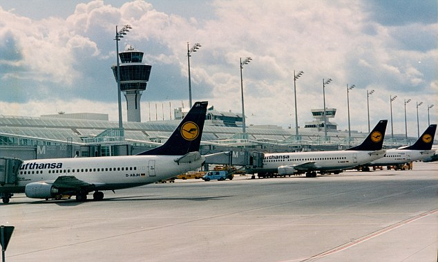 The 24-year-old, identified only as Soraya Y., had flown into Munich airport (pictured) from Dubai on July 30 last year when she gave birth in the airport toilet
