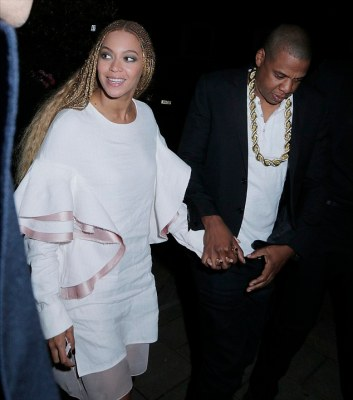 Queen Bey! The Crazy in Love singer looked elegant for the outing in a stylish white dress with peplum sleeves lined with pink silk