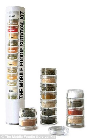 The Mobile Foodie Survival Kit is a transportable stack of 16 herbs and spices