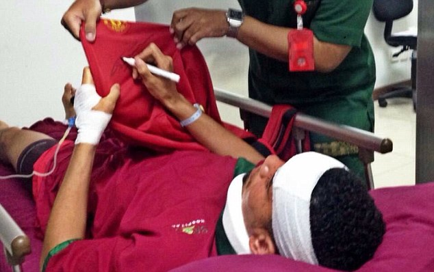 Another image has been posted on social media showing Smalling attached to a drip. The defender appears to be signing some Manchester United merchandise