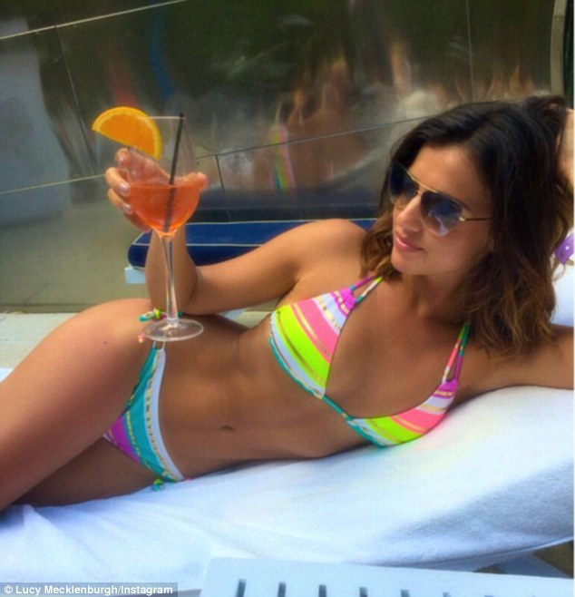 Colourful! Lucy Mecklenburgh, 24, looked sensational in a vibrant bikini as she posted a revealing snap to celebrate National Bikini Day, on Tuesday