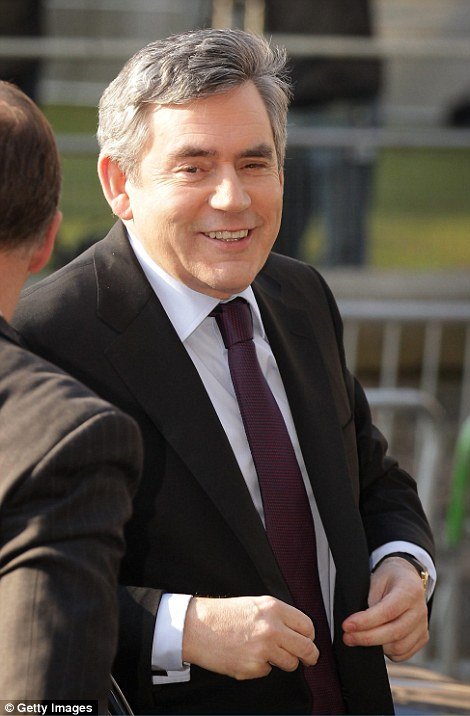 Gordon Brown arriving to give evidence to the Chilcot report