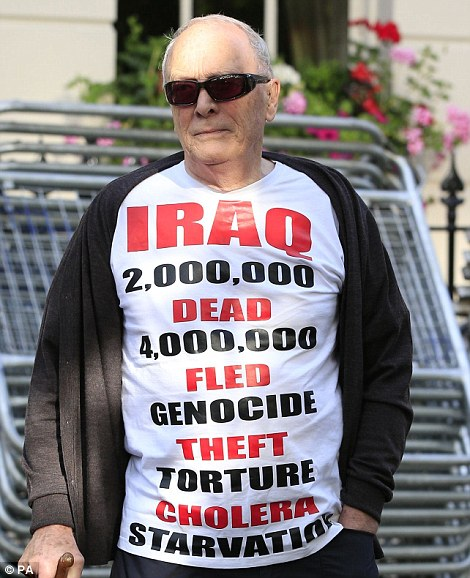 Anger: Michael Culver, 78, stands outside the London home of former Prime Minister Tony Blair today