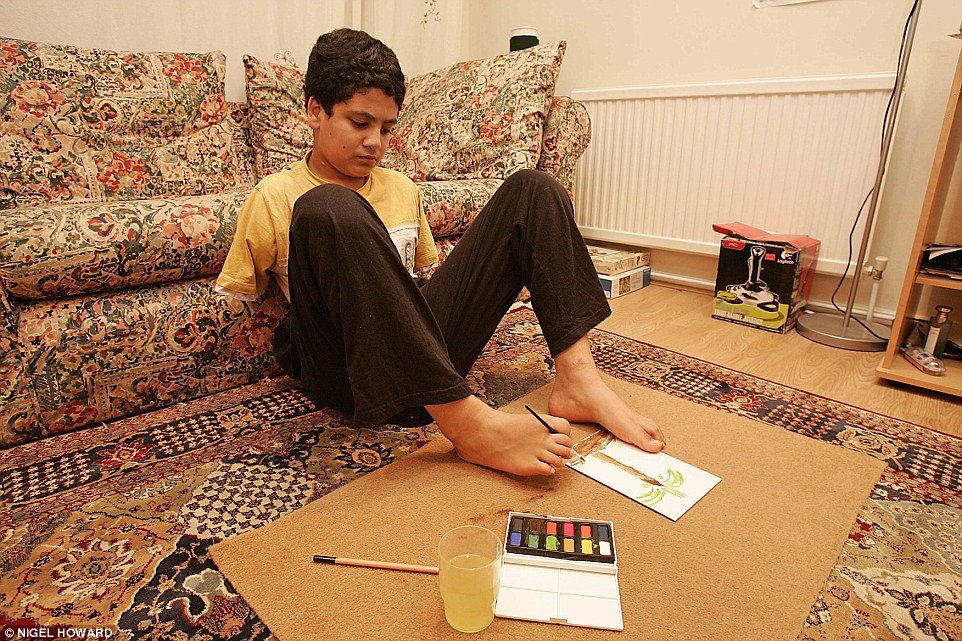 Therapy: Ali Abbas, pictured aged 14, settled in to life in Britain and is now 25 and looking for a job