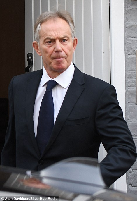 Tony Blair, pictured leaving his London home this morning
