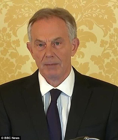 Message: Mr Blair was emotional as he told the families of the 179 British war dead: 'I express more sorrow, regret and apology than you may ever know or can believe' - but maintained the decision was made in good faith