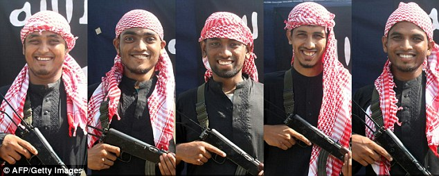 Five men, allegedly the gunmen who carried out an attack in the capital Dhaka on July 1, 2016 during which 20 hostages were slaughtered at a restaurant, posing with a rifle in front of a flag of the Islamic State jihadist group at an undisclosed location