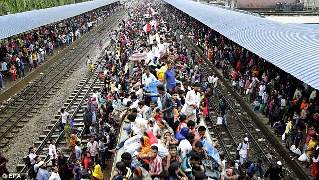 The terrorists carried out the latest deadly assault near a huge prayer in Kishoreganj where 200,000 people had gathered to celebrate the end of Ramadan, just as these locals waited to board trains back to their villages